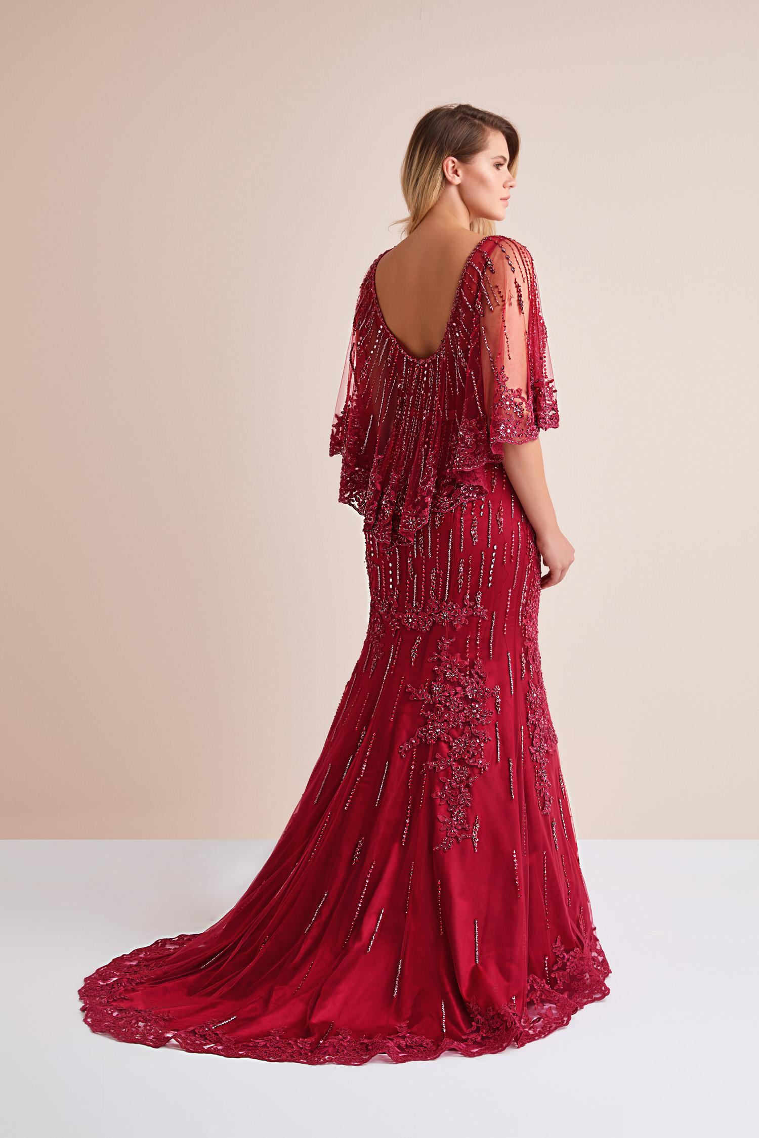 Şarap Kırmızısı Payet İşlemeli Uzun Büyük Beden Abiye Elbise - Thumbnail
