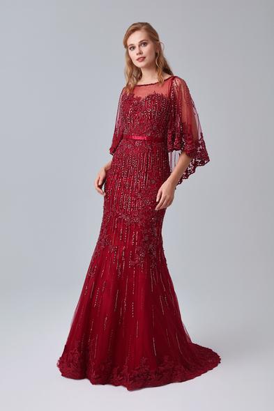 Oleg Cassini - Şarap Kırmızısı Transparan Yaka Pelerinli Uzun Abiye Elbise