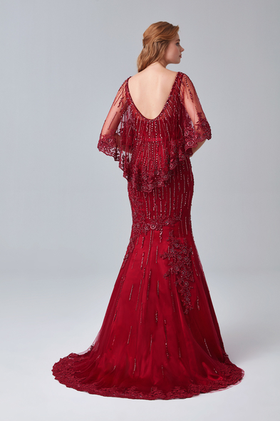 Oleg Cassini - Şarap Kırmızısı Transparan Yaka Pelerinli Uzun Abiye Elbise (1)