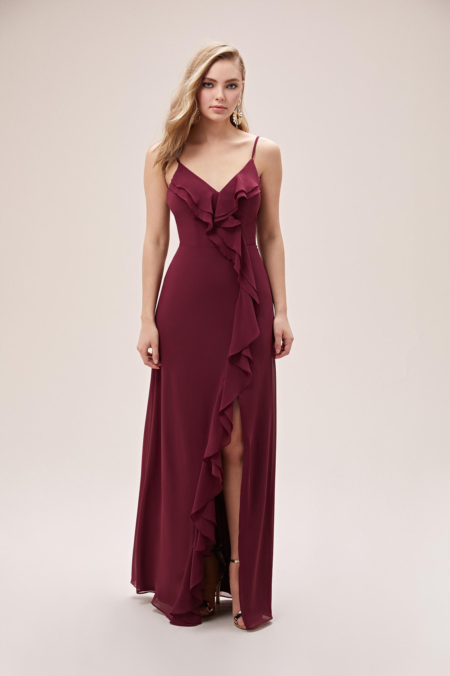 Şarap Rengi Farbalalı Şifon Yırtmaçlı Abiye Elbise - Thumbnail