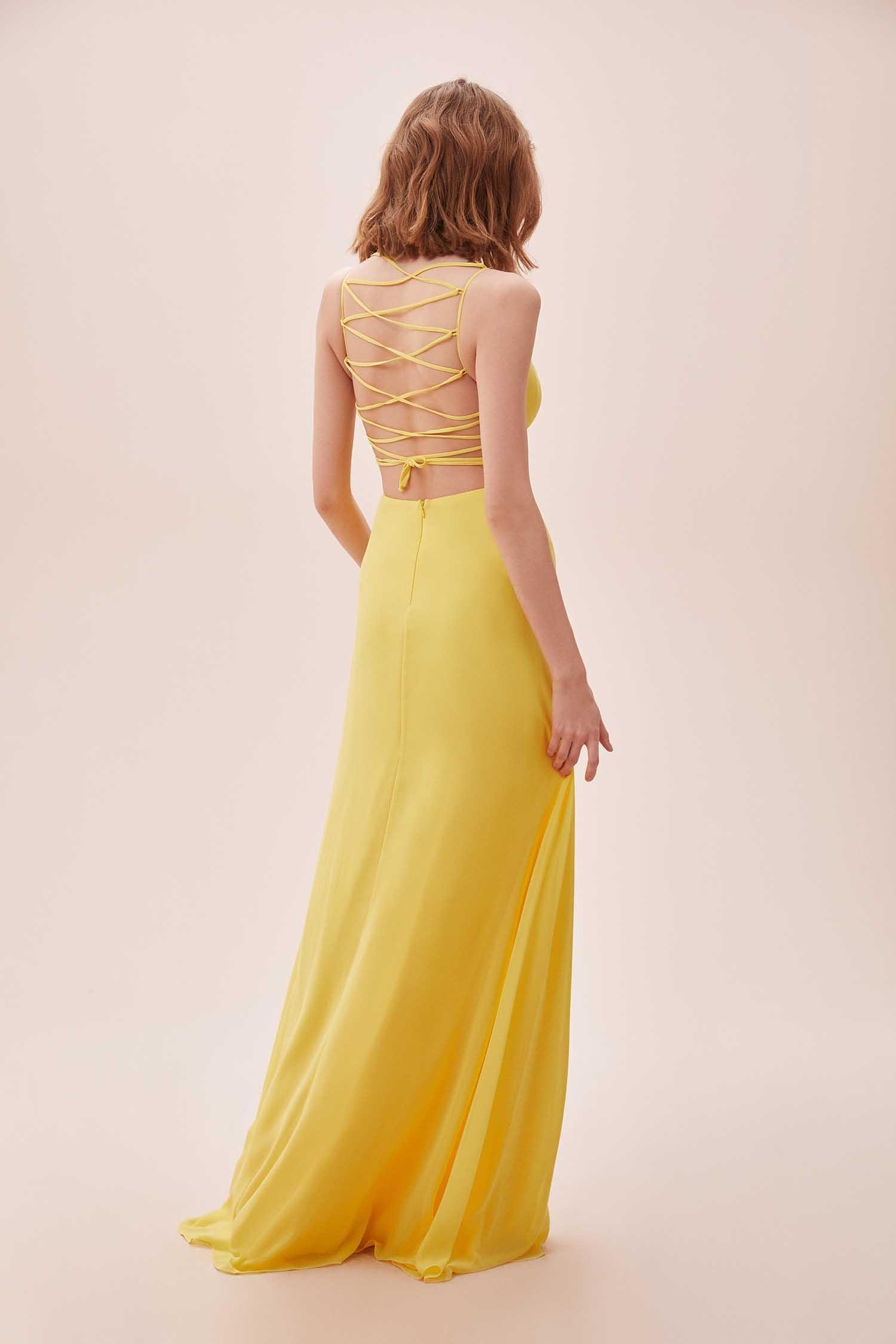 Sarı Askılı Sırtı Çapraz İpli Şifon Uzun Elbise - Thumbnail