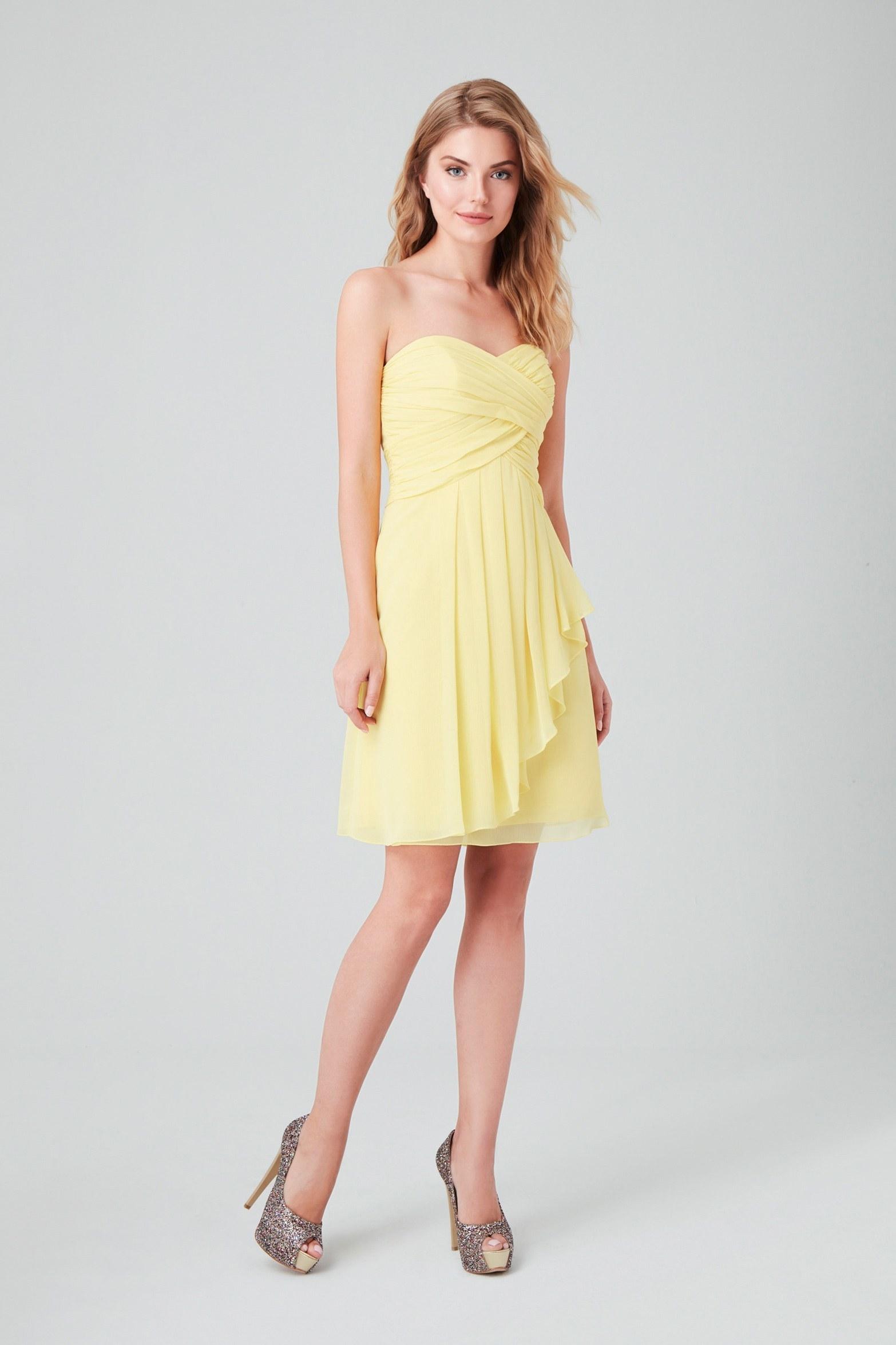 Sarı Drape Yaka Straplez Şifon Kısa Abiye Elbise - Thumbnail