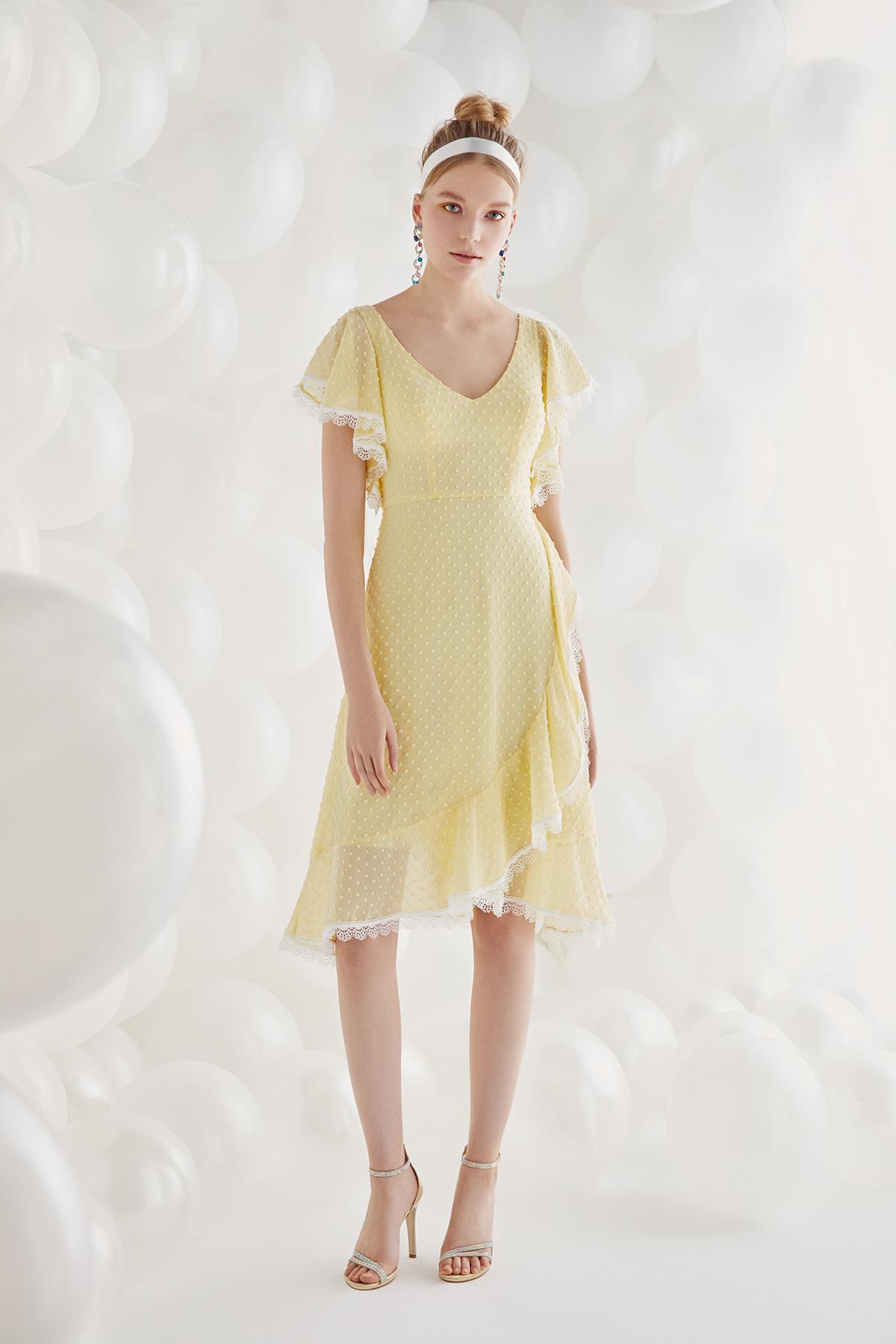 Sarı Fırfırlı Kısa Kollu Şifon Midi Abiye Elbise - Thumbnail
