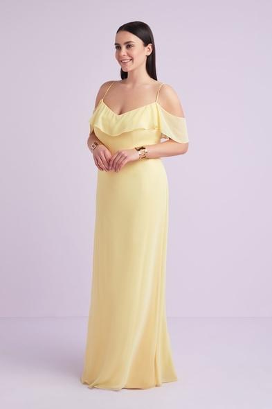 Sarı İnce Askılı Şifon Uzun Büyük Beden Abiye Elbise - Oleg Cassini