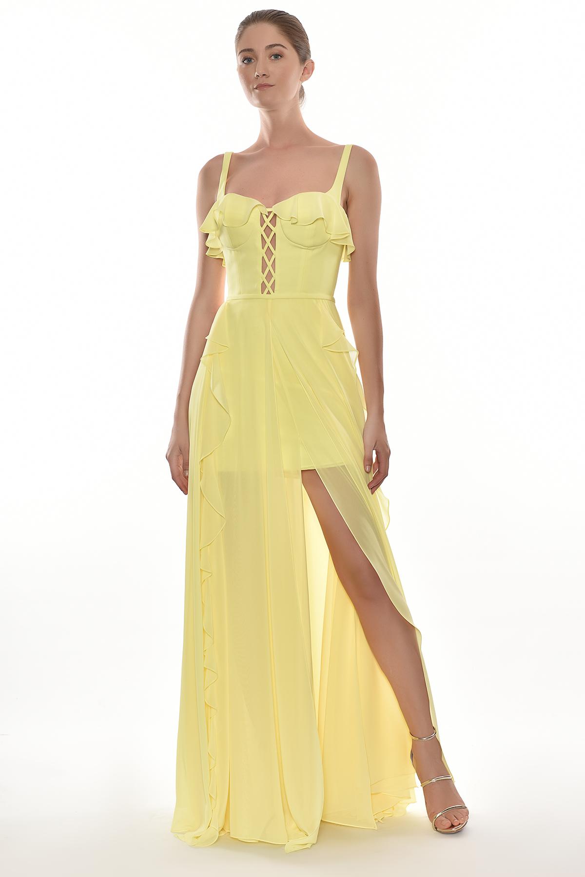 Alfa Beta - Sarı Kalın Askılı Çapraz Bant Dekolteli Şifon Uzun Elbise