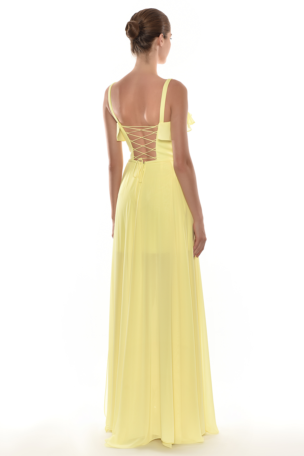 Alfa Beta - Sarı Kalın Askılı Çapraz Bant Dekolteli Şifon Uzun Elbise (1)