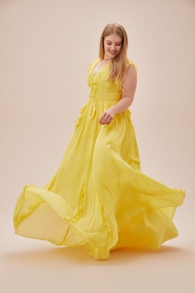 Viola Chan - Sarı Kap Kol V Yaka Şifon Uzun Büyük Beden Elbise