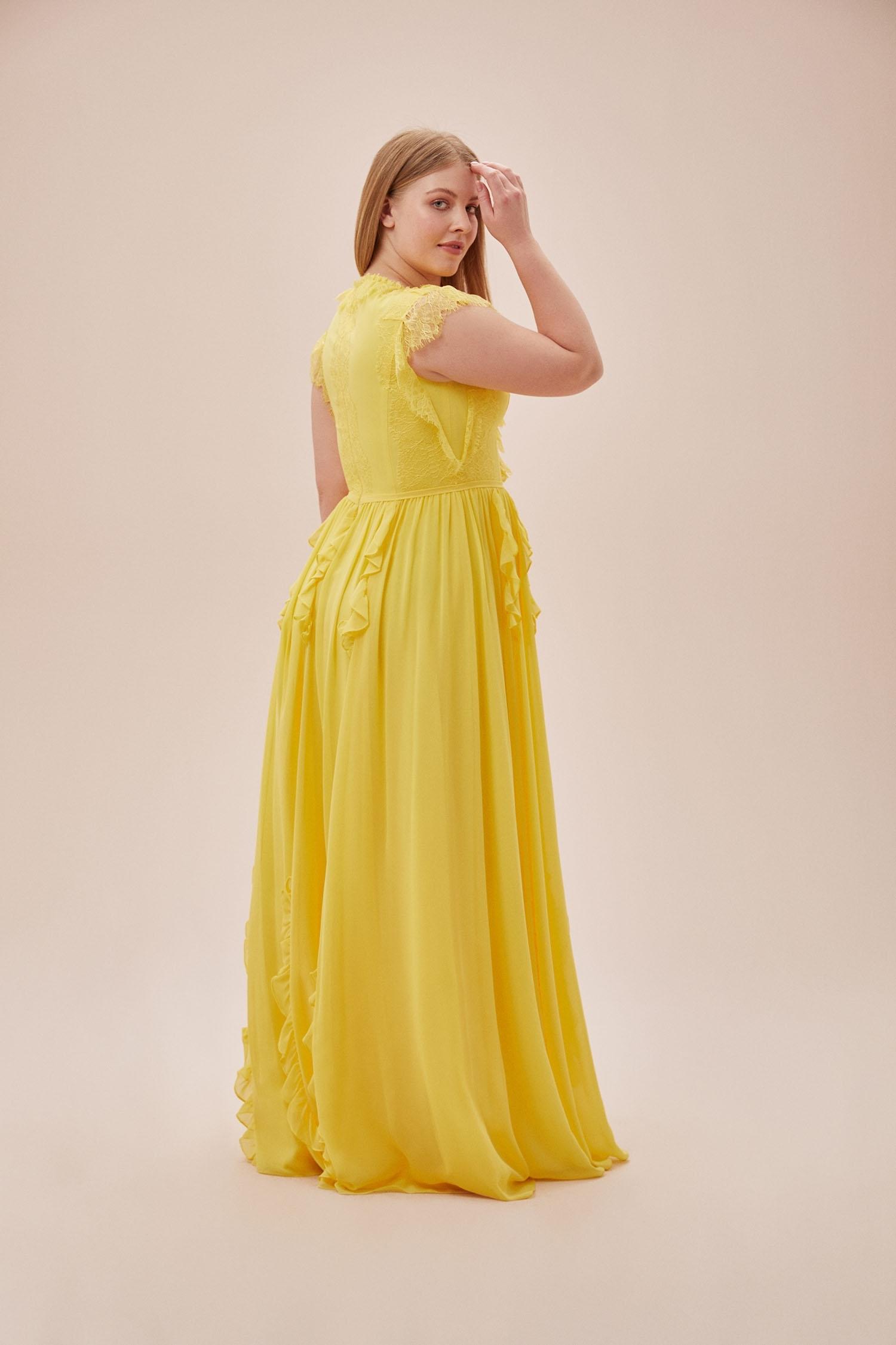 Sarı Kap Kol V Yaka Şifon Uzun Büyük Beden Elbise - Thumbnail