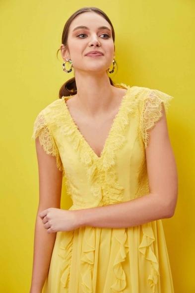 Viola Chan - Sarı Kap Kol V Yaka Şifon Uzun Elbise