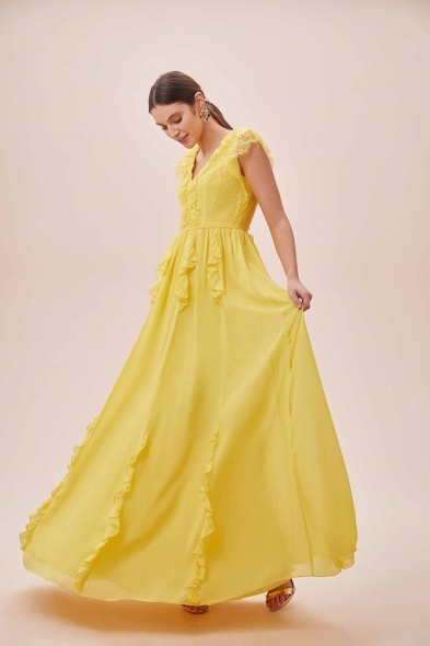 Viola Chan - Sarı Kap Kol V Yaka Şifon Uzun Elbise (1)