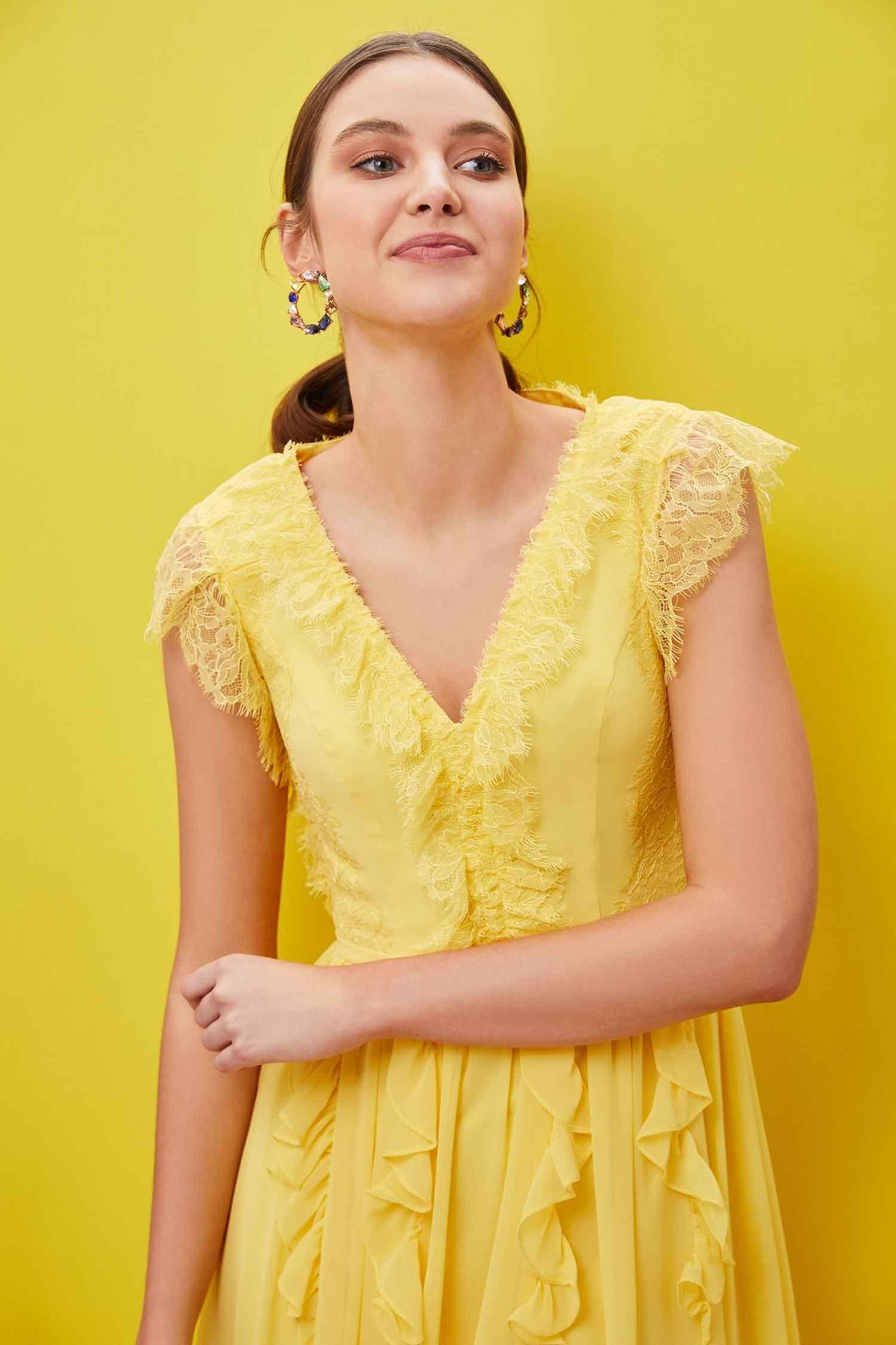 Sarı Kap Kol V Yaka Şifon Uzun Elbise - Thumbnail