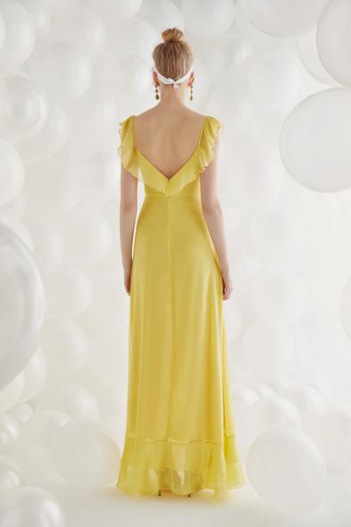 - Sarı Şifon Askılı Uzun Büyük Beden Elbise - Oleg Cassini