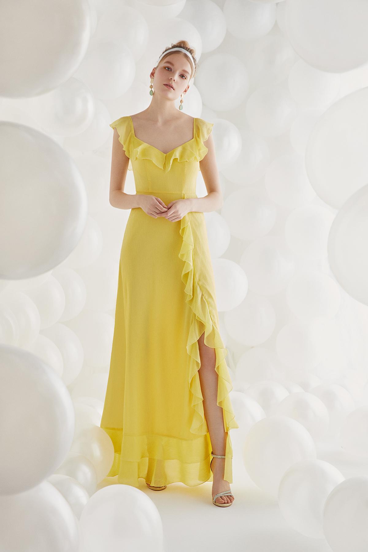 Sarı Şifon Askılı Uzun Büyük Beden Elbise - Thumbnail