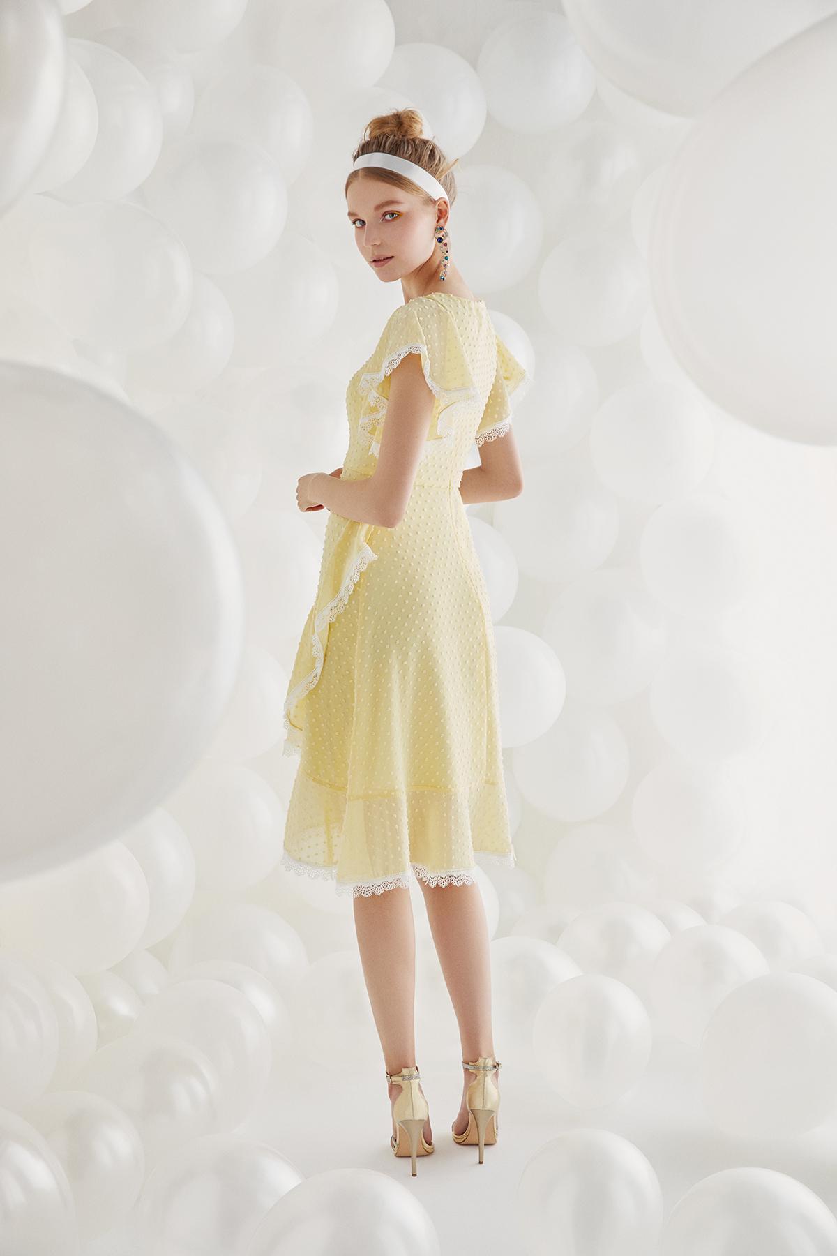 Sarı Şifon Yarım Kollu Midi Boy Elbise - Thumbnail