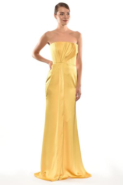 Alfa Beta - Sarı Straplez Drapeli Saten Uzun Abiye Elbise