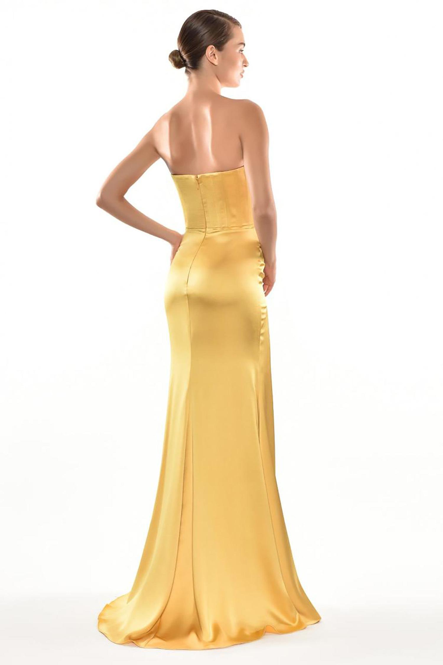 Sarı Straplez Drapeli Saten Uzun Abiye Elbise - Thumbnail