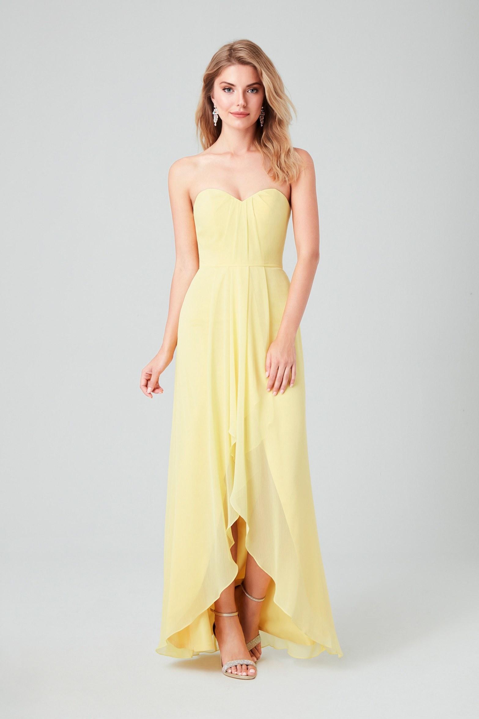 Sarı Önü Kısa Arkası Uzun Şifon Abiye Elbise - Thumbnail