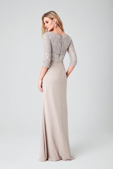 - Bisküvi Rengi Uzun Kollu Şifon Etekli Uzun Abiye Elbise - Oleg Cassini