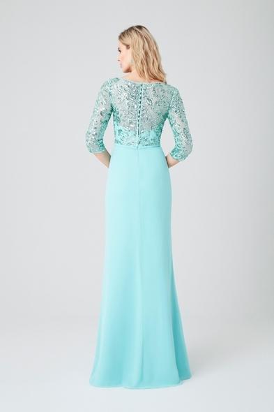 Turkuaz Kapri Kol Şifon Etekli Kruvaze Yaka Uzun Abiye Elbise