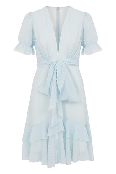 Şifon Mavi Kısa Kollu Kısa Elbise