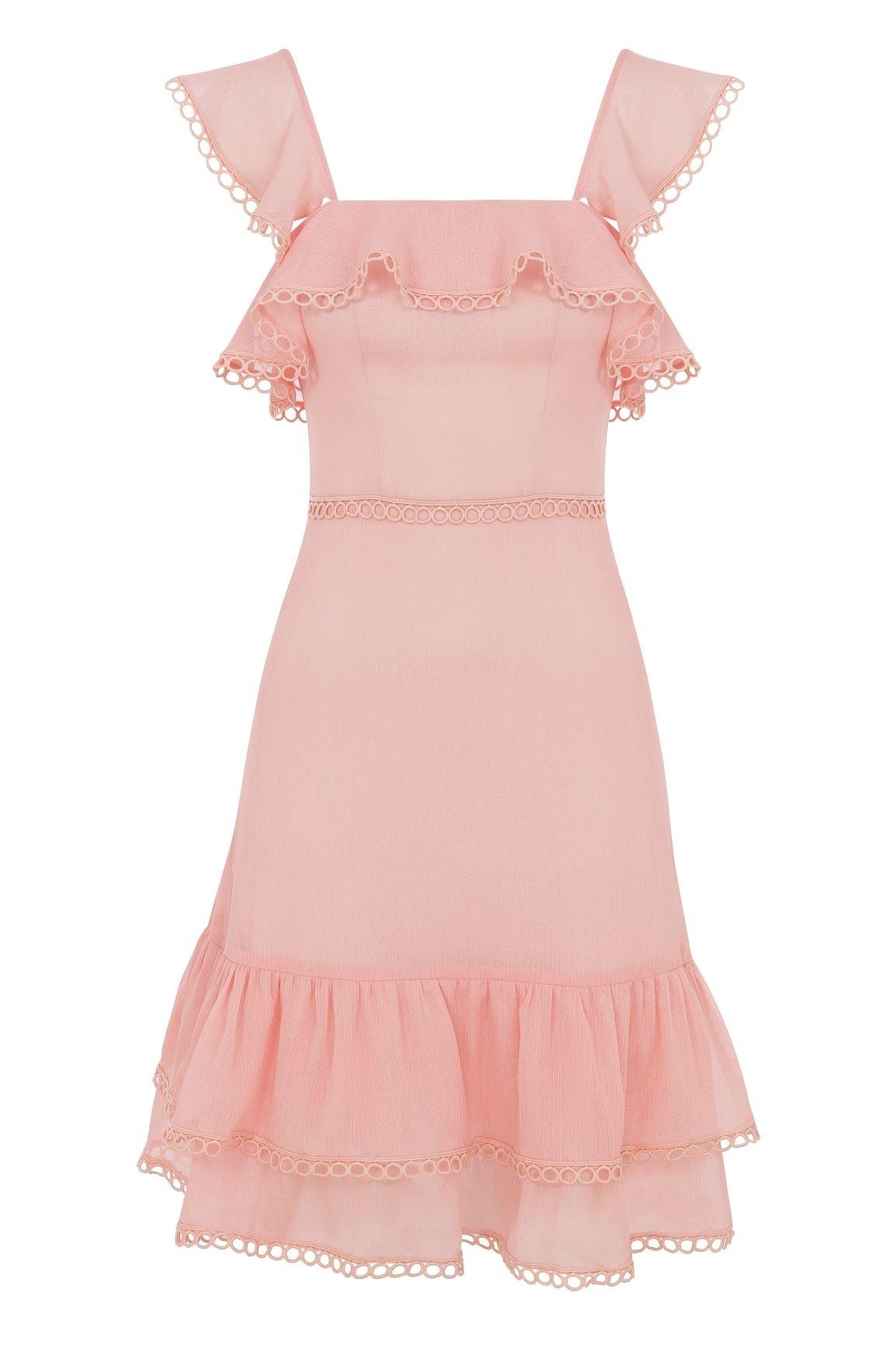 Şifon Somon Rengi Askılı Kısa Elbise - Thumbnail
