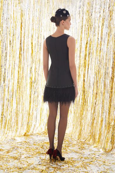 - Siyah Askılı Eteği Püsküllü Mini Elbise - Oleg Cassini