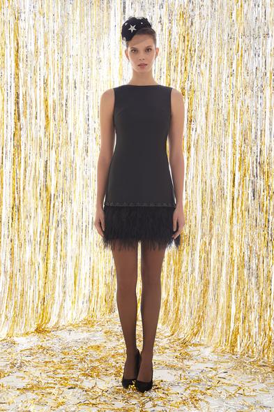 Siyah Askılı Eteği Püsküllü Mini Elbise