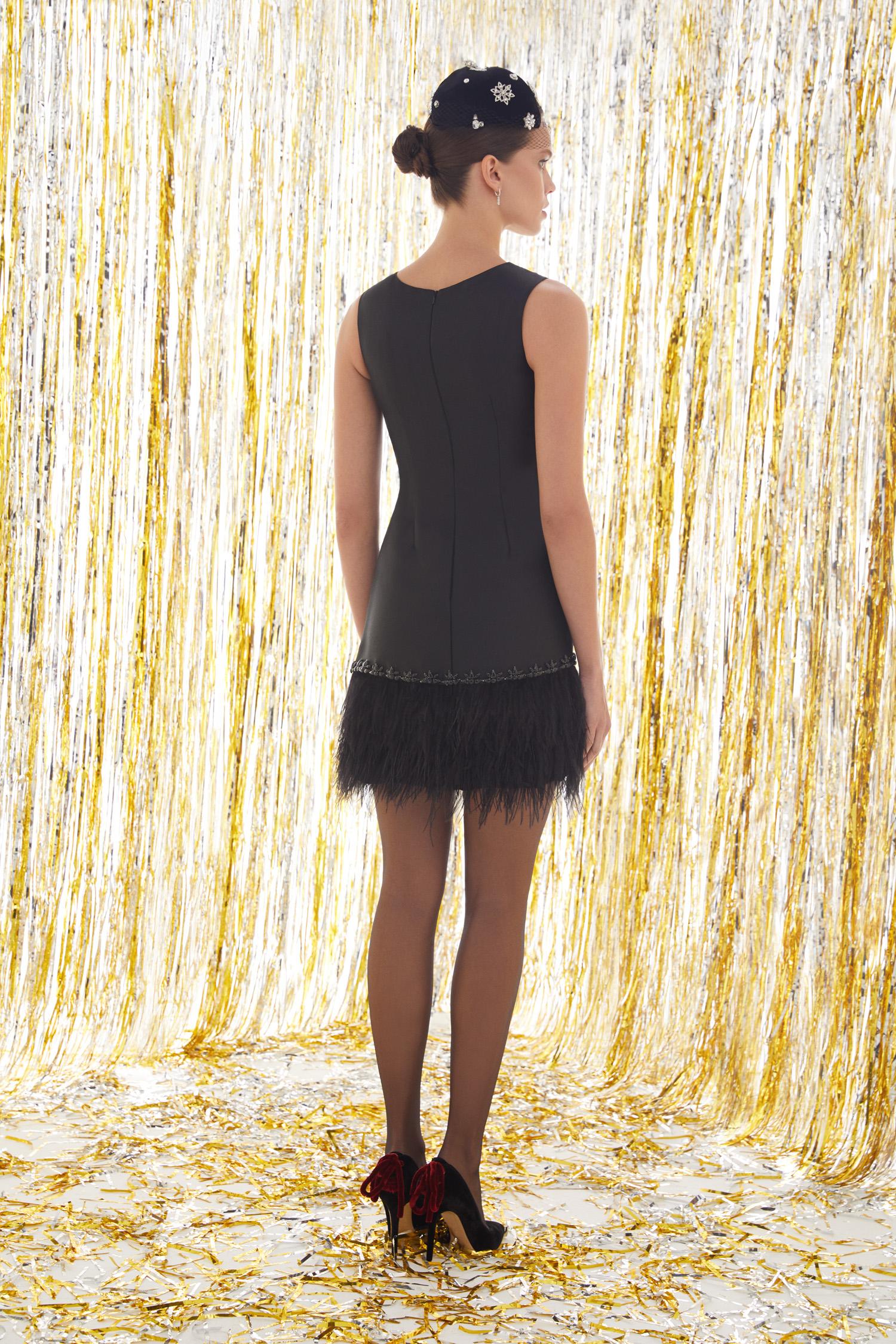 Siyah Askılı Eteği Püsküllü Mini Elbise - Thumbnail