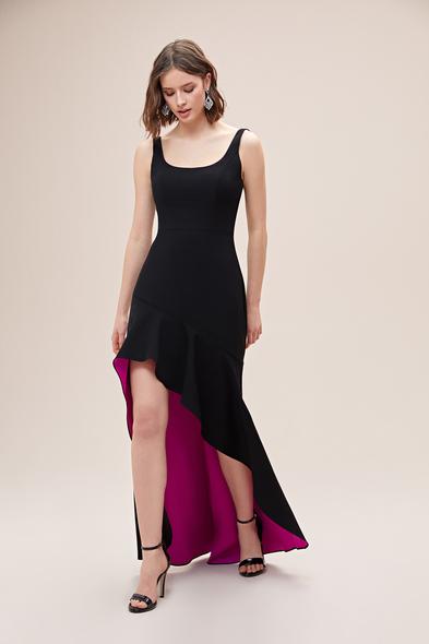 Alfa Beta - Siyah Askılı Kare Yaka Jarse Önü Kısa Arkası Uzun Elbise