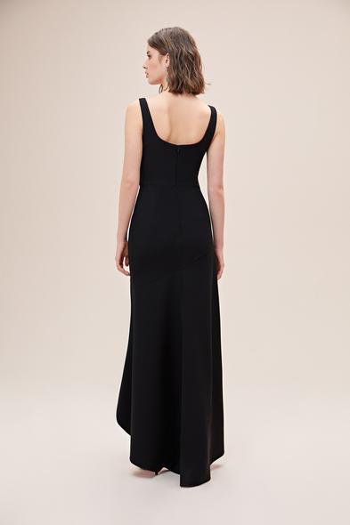 Alfa Beta - Siyah Askılı Kare Yaka Jarse Önü Kısa Arkası Uzun Elbise (1)