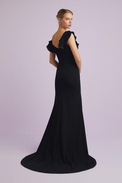 - Siyah Askılı Yaka Detaylı Krep Abiye Elbise - Oleg Cassini