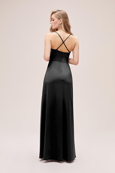 Oleg by Oleg Cassini - Siyah Askılı Yırtmaçlı Degaje Yaka Saten Abiye Elbise (1)