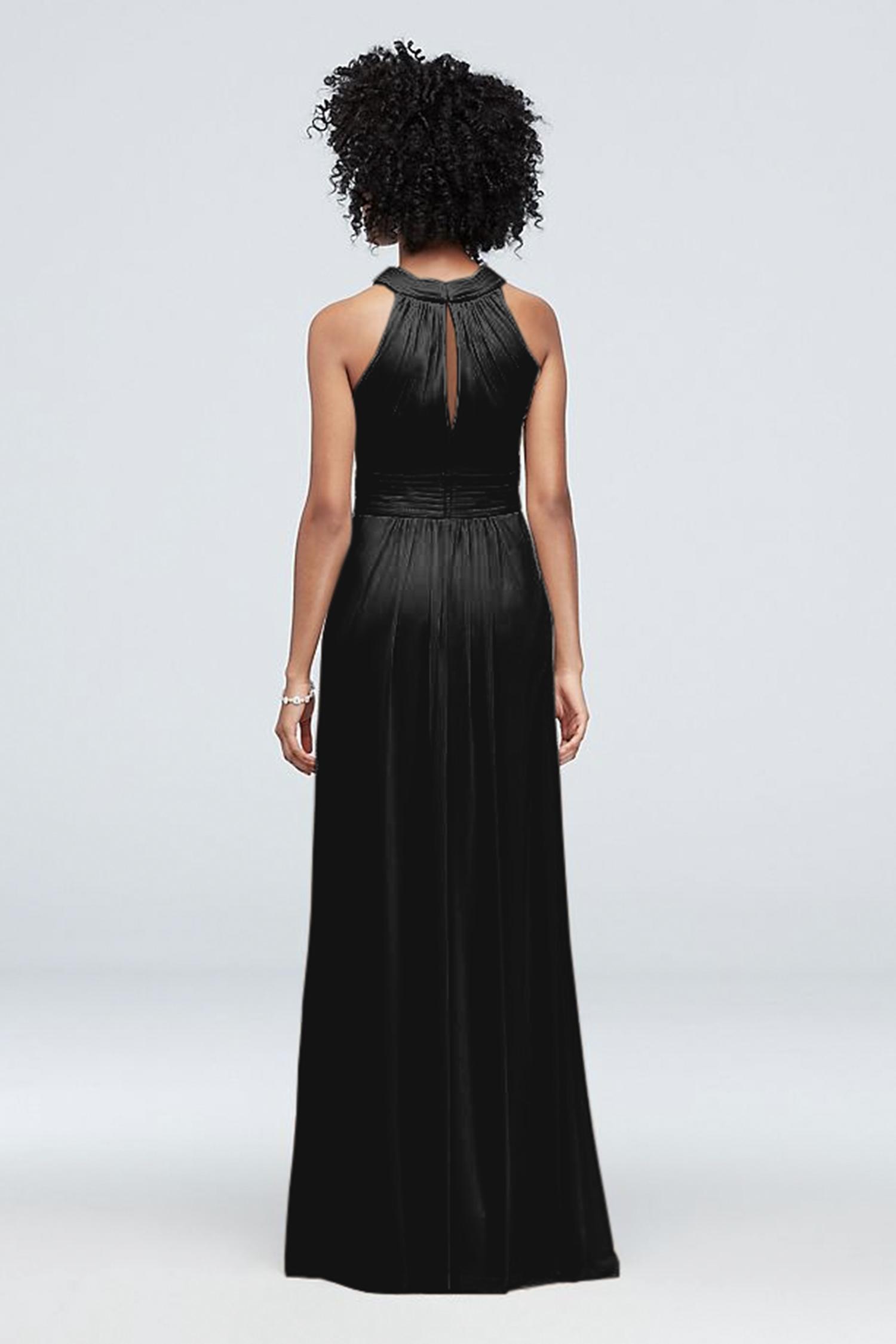 Siyah Çapraz Halter Yaka Yırtmaçlı Elbise - Thumbnail