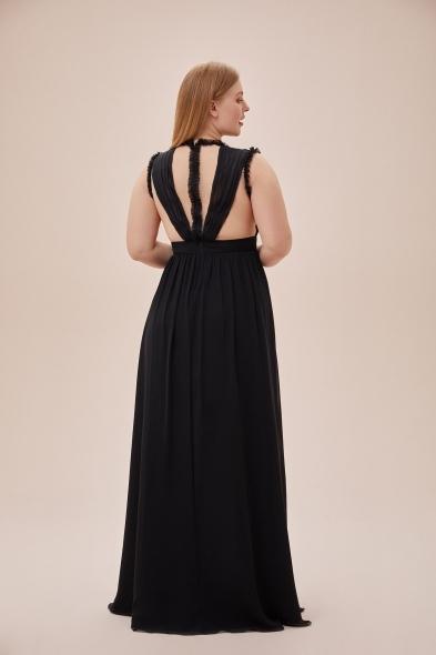 Viola Chan - Siyah Çıkarılabilir Kol Detaylı Şifon Uzun Büyük Beden Elbise (1)