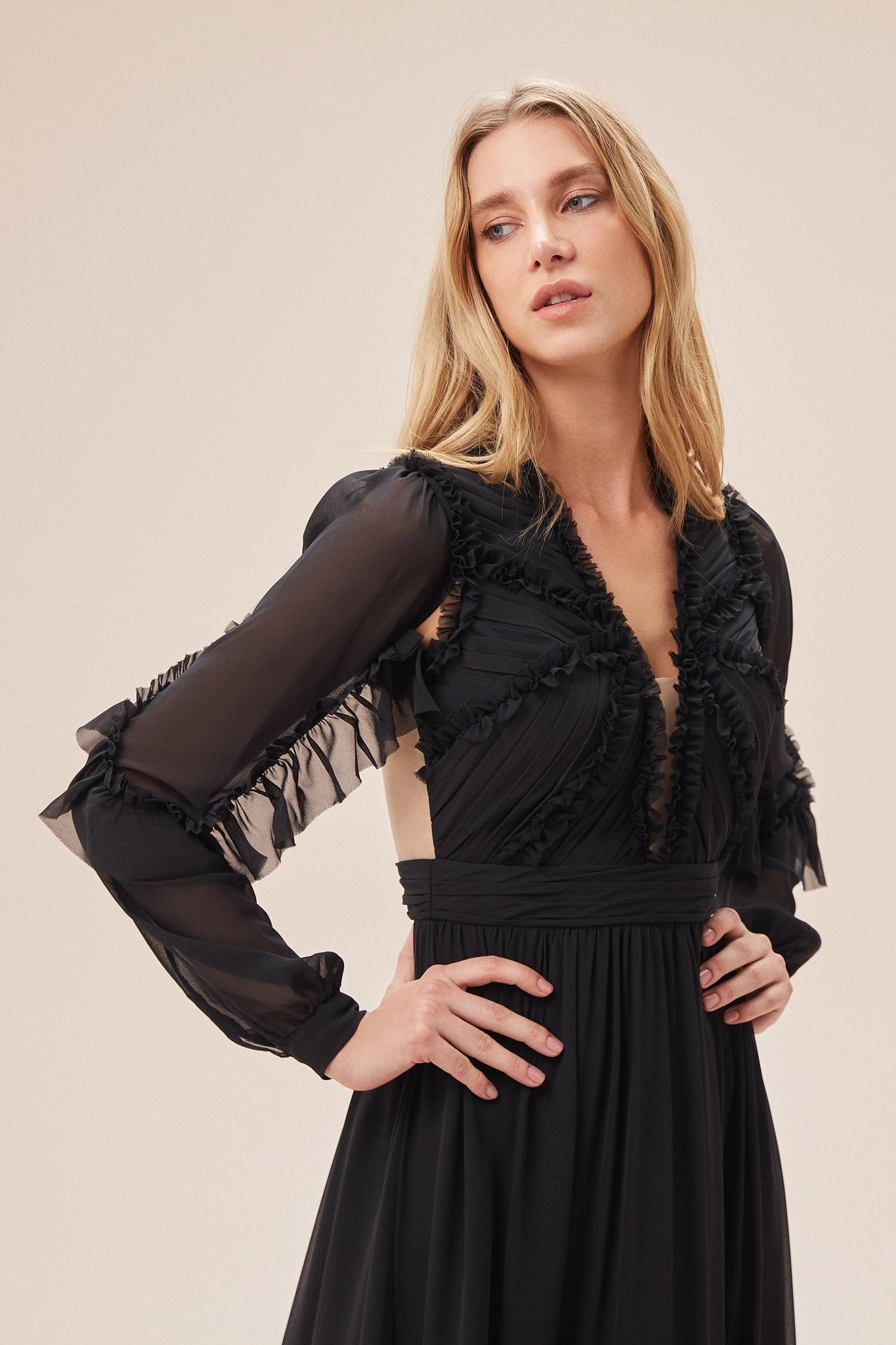 Siyah Çıkarılabilir Kol Detaylı Şifon Uzun Elbise - Thumbnail