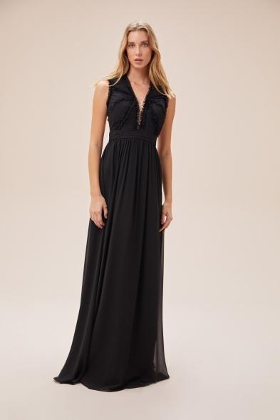 Viola Chan - Siyah Çıkarılabilir Kol Detaylı Şifon Uzun Elbise (1)