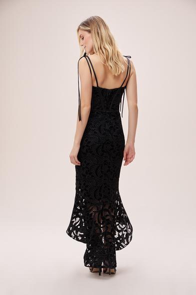 Alfa Beta - Siyah Çapraz Askılı Dantelli Önü Kısa Arkası Uzun Elbise (1)