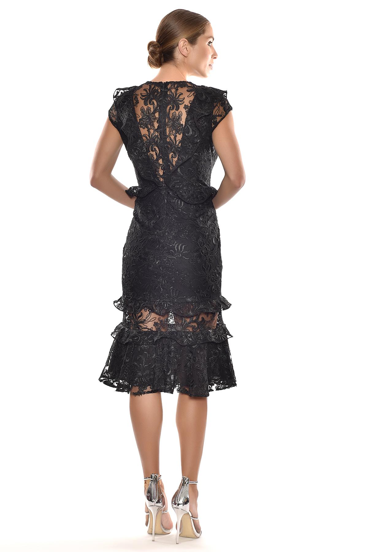 Alfa Beta - Siyah Dantel İşlemeli Kap Kol Midi Boy Elbise (1)