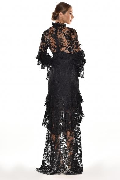 Alfa Beta - Siyah Dantel İşlemeli Uzun Kollu Dik Yaka Uzun Elbise (1)