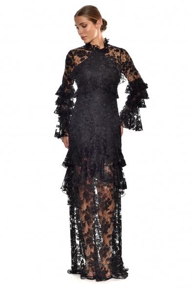 Alfa Beta - Siyah Dantel İşlemeli Uzun Kollu Dik Yaka Uzun Elbise