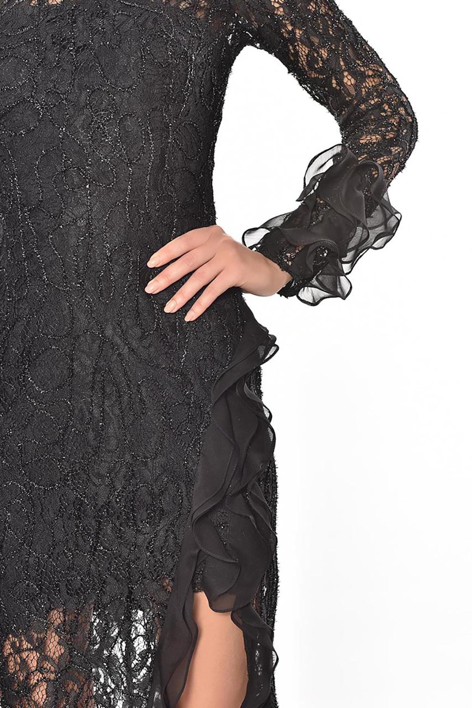 Siyah Dantel İşlemeli Uzun Kollu Yırtmaçlı Midi Boy Büyük Beden Elbise - Thumbnail