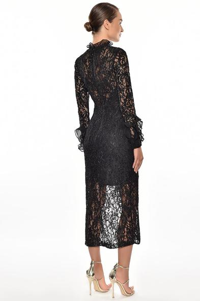 Alfa Beta - Siyah Dantel İşlemeli Uzun Kollu Yırtmaçlı Midi Boy Elbise (1)
