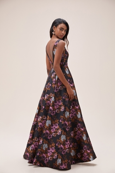 Viola Chan - Siyah Desenli Askılı Mikado Uzun Abiye Elbise (1)