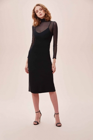 OLEG CASSINI TR - Siyah Dik Yaka Uzun Tül Kollu Midi Krep Elbise (1)