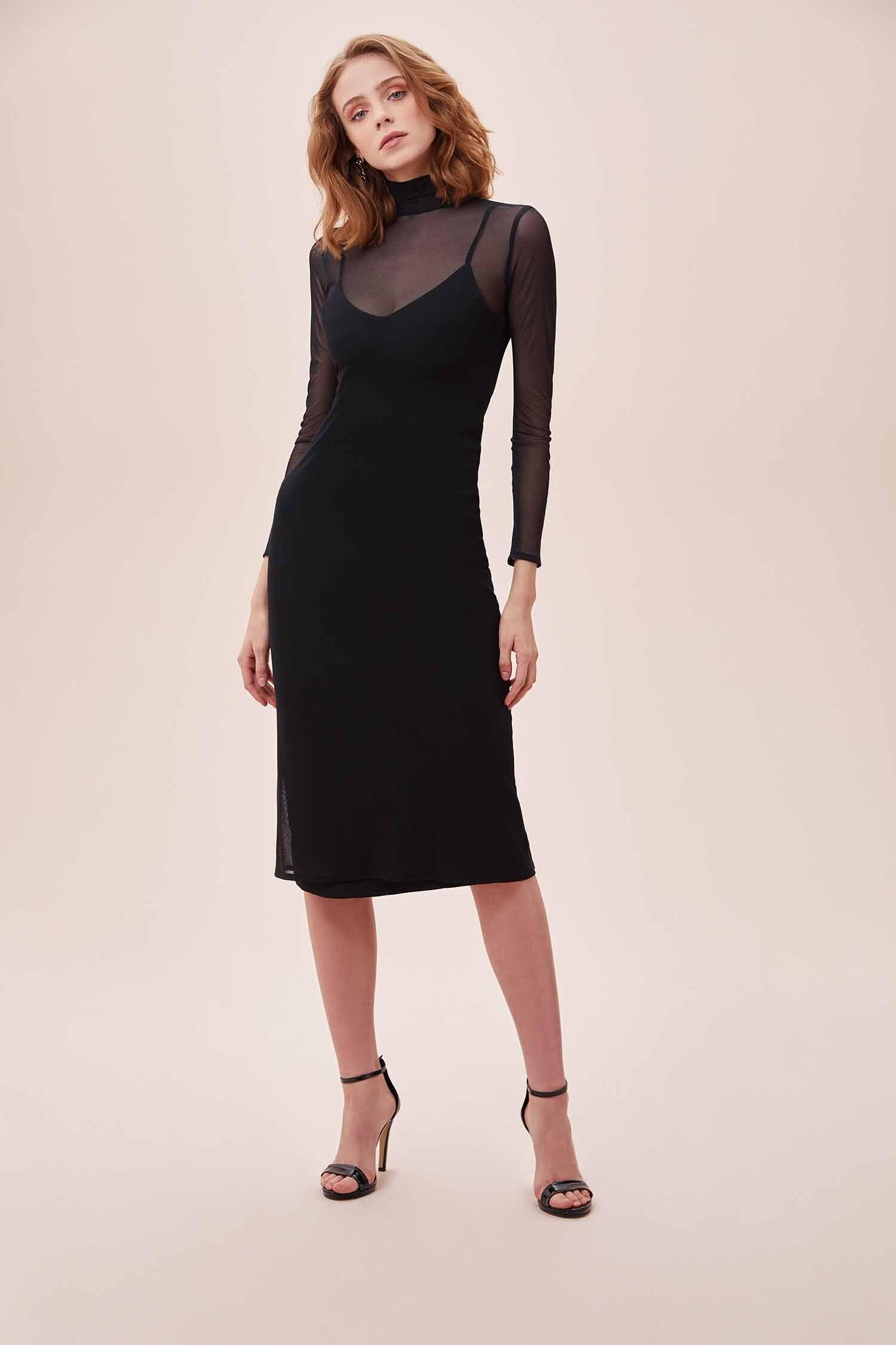 Siyah Dik Yaka Uzun Tül Kollu Midi Krep Elbise - Thumbnail