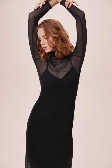 OLEG CASSINI TR - Siyah Dik Yaka Uzun Tül Kollu Midi Krep Elbise