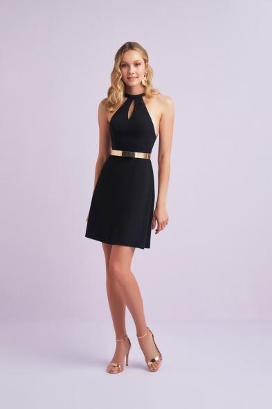 Viola Chan - Siyah Halter Yaka Kemer Detaylı Sırt Dekolteli Mini Krep Elbise