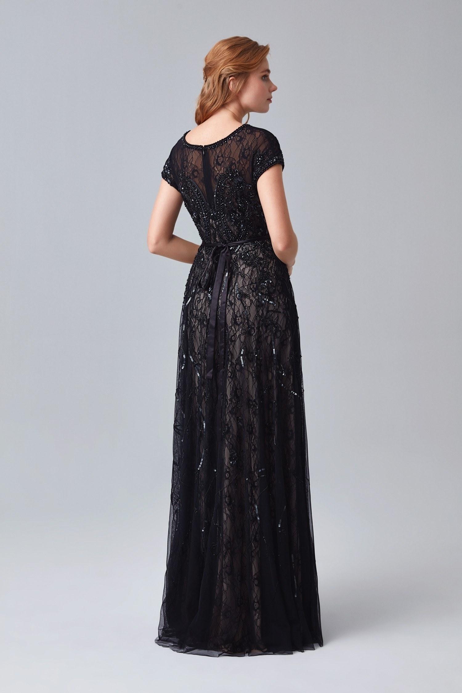 Siyah İllüzyon Yaka Kısa Kollu Payetli Uzun Büyük Beden Abiye Elbise - Thumbnail