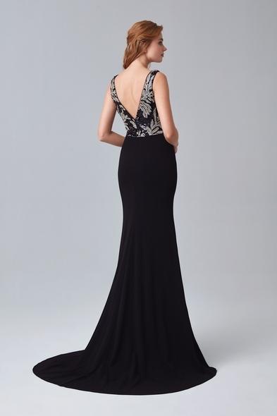 Siyah İllüzyon Yaka Payetli Uzun Abiye Elbise
