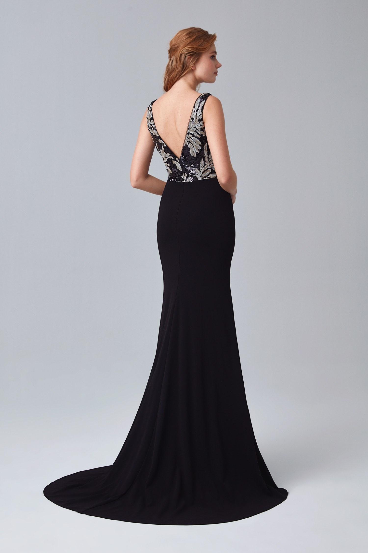 Siyah İllüzyon Yaka Payetli Uzun Abiye Elbise - Thumbnail